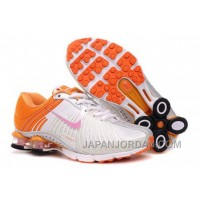 Kid's Nike Shox R4 Shoes White/Orange Super Deals