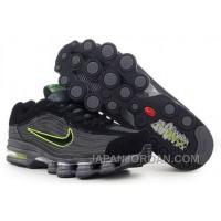 Men's Nike Air Max Shox R4 Shoes Black/Dark Grey/Green New Release