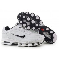 Men's Nike Air Max Shox R4 Shoes White/Black Super Deals