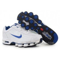 Men's Nike Air Max Shox R4 Shoes White/Blue Authentic