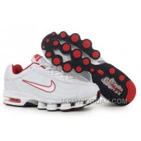 Men's Nike Air Max Shox R4 Shoes White/Red Cheap To Buy