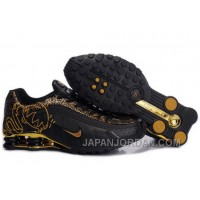 Men's Nike Shox R4 Cartoon Shoes Black/Gold Authentic