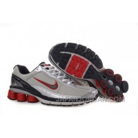 Men's Nike Shox R6 Shoes Grey/Silver/Black/Red Authentic