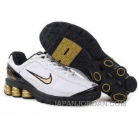 Men's Nike Shox R6 Shoes White/Black/Golden Authentic