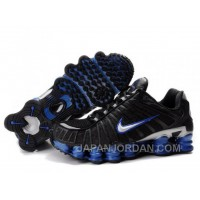 Men's Nike Shox TL Shoes Black/Blue/Silver Lastest