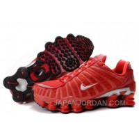 Men's Nike Shox TL Shoes Gym Red/Silver Super Deals