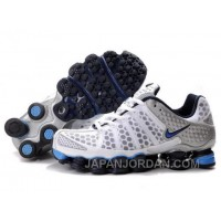 Men's Nike Shox TL Shoes White/Navy/Light Blue/Silver Online