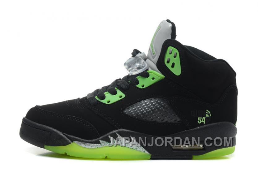 "0a7435516a24 New Air Jordan 5 Retro ""Quai 54″ Black Radiant Green Free Shipping ..."