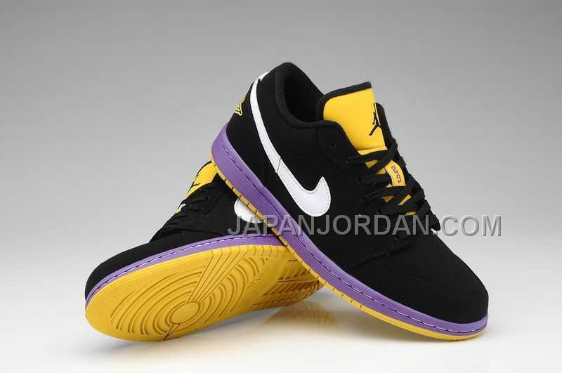 ホット販売 Nike Air Jordan 1 Mens Low Black White Purple Shoes